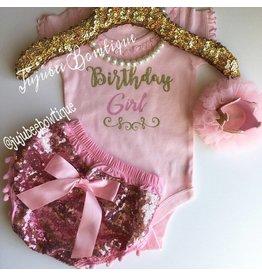 Pink Short Sleeve Birthday Girl Onesie