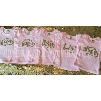 """Pink and Gold Glitter """"Yearly"""" Tee Shirt"""