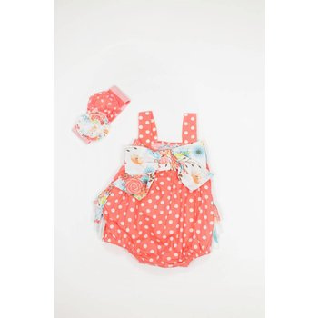 Serendipity Clothing Co Coral and White Polka Dot with Bow and Floral Bubble