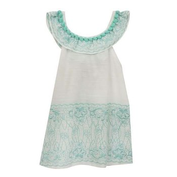 Rare Editions White and Aqua Embroidered Flounce Dress