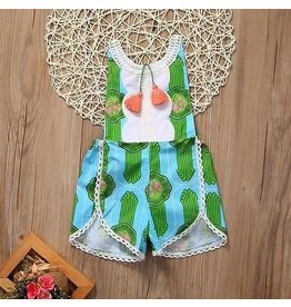 Green and Blue Art Deco Tassel Romper