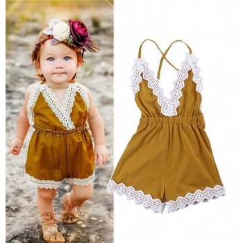 Mustard Romper With Ivory Lace