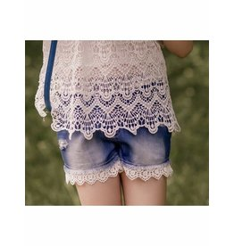 Mae Li Rose White Trim Denim Shorts