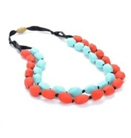 Chewbeads Red and Turquoise Chewbeads Necklace (Double String)