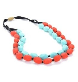 Turquoise & Red Chewbeads Necklace (Double String)