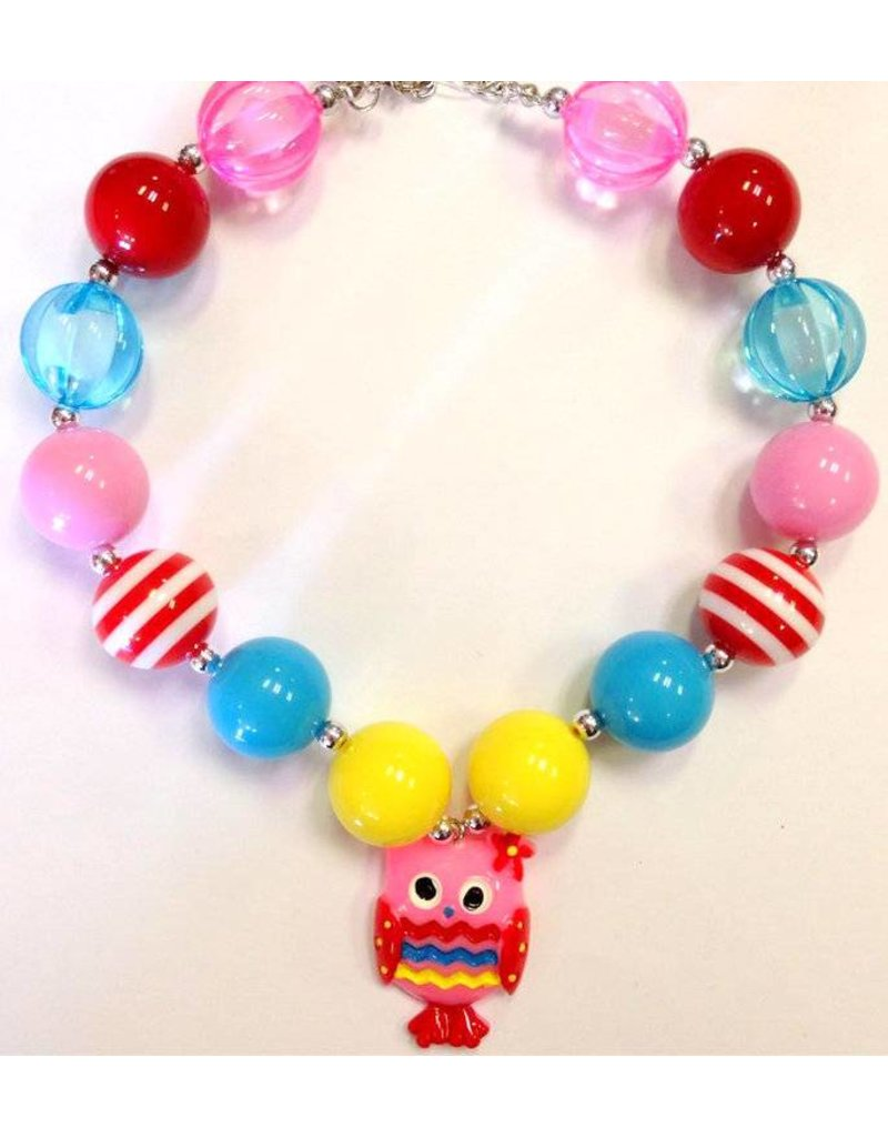 primary colors and pink owl necklace peek a bootique