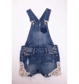 Silver Jeans Denim Overalls with Lace bottom