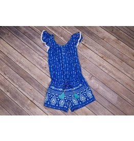 Bela & Nuni Arrows and Feathers Blue Romper