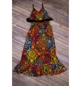 Bela & Nuni Rainbow Mandala Flutter Maxi Dress