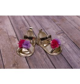 Laura Ashley Light Gold Sandal With Flower Pom Pom
