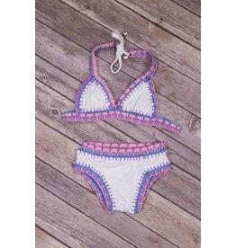 Peaches 'n Cream White Pink and Blue Crochet