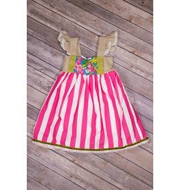 Adora-Bay Pink Fruit Striped Dress