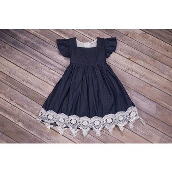Adora-Bay Denim Lace Dress