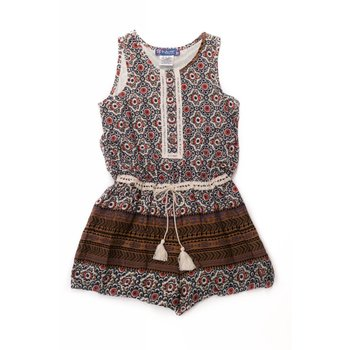 Truly Me Button Brown Border Print Down Romper Tween