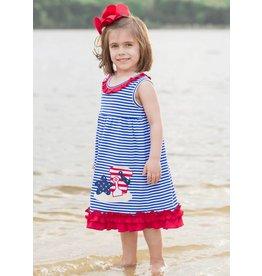 Be Mine Sand Bucket Blue Striped Dress