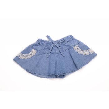 Nina And Nelli Apparel Denim Shorts With Crochet Trim Pockets