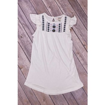 Silver Jeans White with Navy Design Ruffled Sleeve