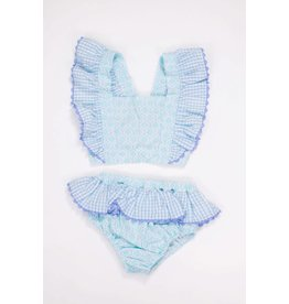 Three Sisters Quatrefoil/ Blue Gingham  Swimsuit
