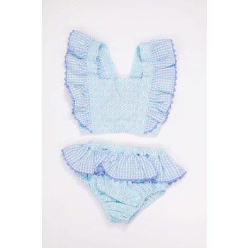 Three Sisters Quatrefoil/ Blue Gingham  Swimsuit