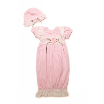 CachCach Pink White Lace W/ Pink Rose Baby Cap