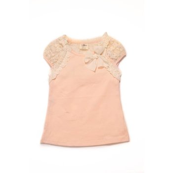 MLKids Peach and Ivory Lace Cap Sleeve Shirt