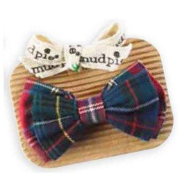 Mud Pie Dark Green and Red Plaid Bowtie