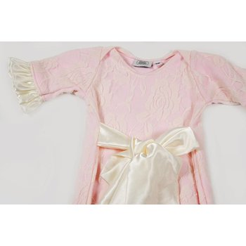 Cuddle Couture Lace Gown Satin Bow Pink/Ivory