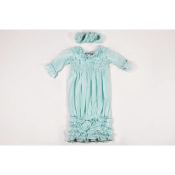 Bebe Gabrielle Mint Ruffle Gown With Headband