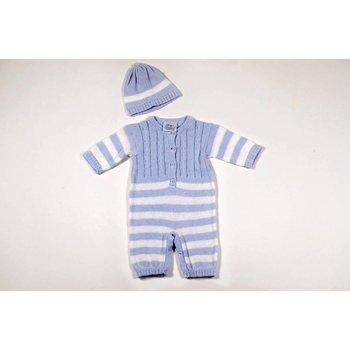 Baby's Trousseau Blue Striped Crochet Romper