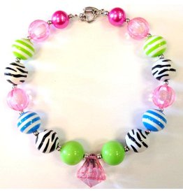 Pink and Green Zebra Pink Diamond Chunky Necklace
