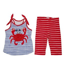 Mud Pie Crab Stripped with Flags Tunic Capri Set