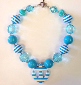Turquoise Striped Anchor Necklace