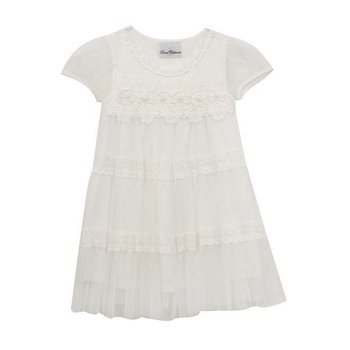 Rare Editions White Mesh/Lace Dress W/ Pearl