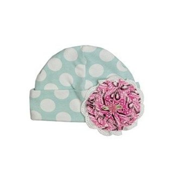 Haute Baby Teal and Pink Polka Dot Hat