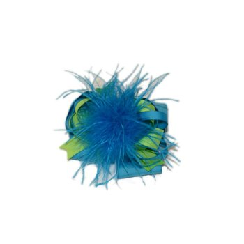 Reflectionz Lime Green & Turquoise Feather Bow