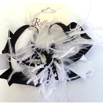 Reflectionz Black & White Feather Bow