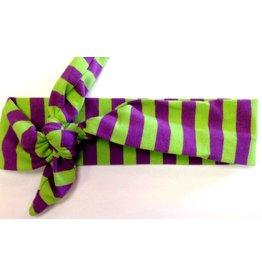 Purple and Green Striped Turban Headband