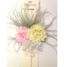 Reflectionz Gray & Lt Pink Ivory Vintage Thin Elastic HB