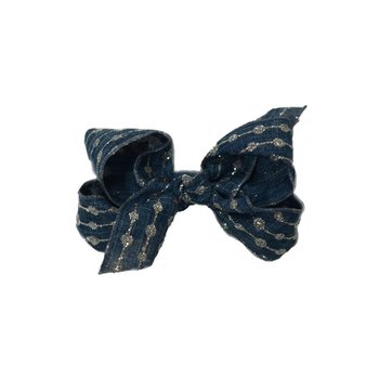 Reflectionz Denim Bow with Silver Glitter