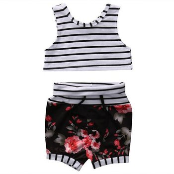 Floral High Waisted and Crop Short Set