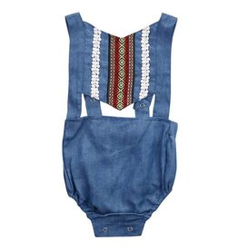 Denim Romper Belly Open Romper