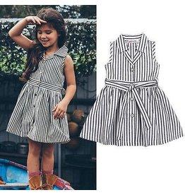 Grey Striped Collared Dress