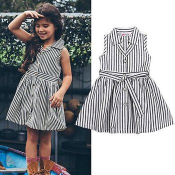 Grey Striped Collared Dress