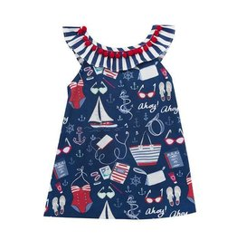 Rare Editions Ship Ahoy Navy Dress with Red Pom Pom