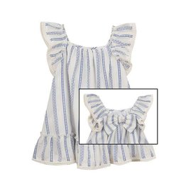 Rare Editions Ivory/Chambray Woven Stripe Bow Back Dress
