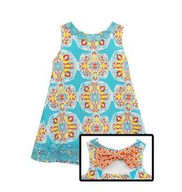 Rare Editions Turquoise Medallion Printed Dress