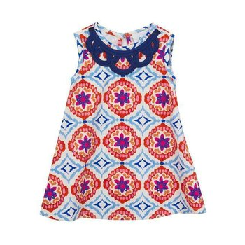 Rare Editions Orange And Blue Medallion Print Dress
