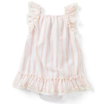 Rare Editions Peach Striped Ruffle Dress