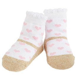 Mud Pie Pink Heart Socks With Gold