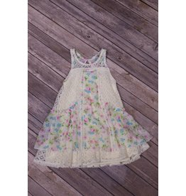Rare Editions Ivory Floral Chiffon Dress